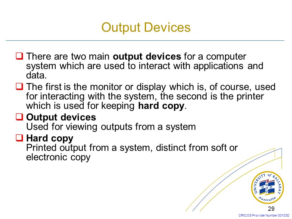 Output Devices There are two main output devices for a computer system which are used to interact with applications and data.