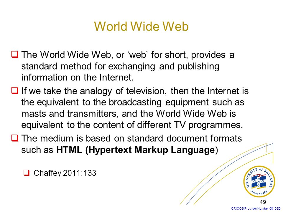World Wide Web The World Wide Web, or 'web' for short, provides a standard method for exchanging and publishing information on the Internet.