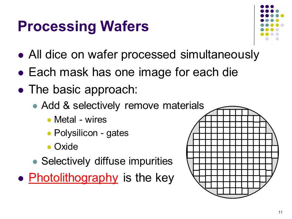 Processing Wafers All dice on wafer processed simultaneously