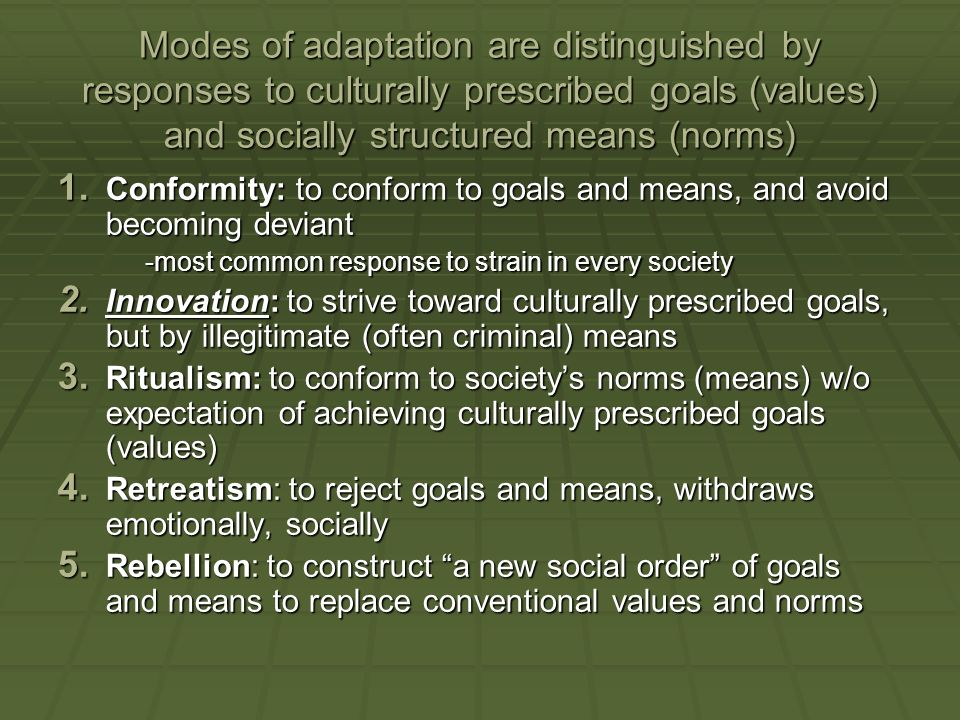 Modes of adaptation are distinguished by responses to culturally prescribed goals (values) and socially structured means (norms)