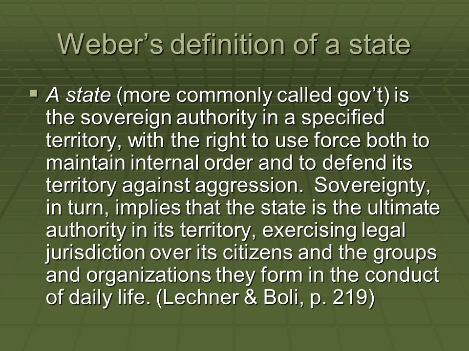 Weber's definition of a state