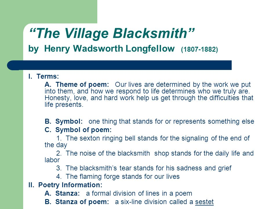 The Village Blacksmith by Henry Wadsworth Longfellow (1807-1882)