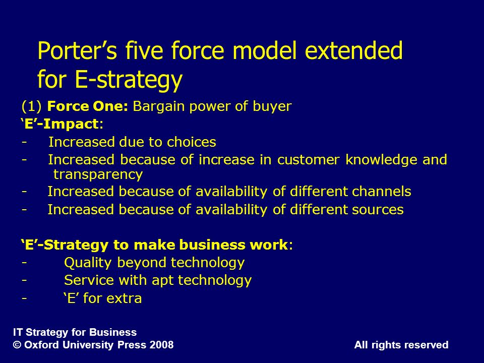 Porter's five force model extended for E-strategy
