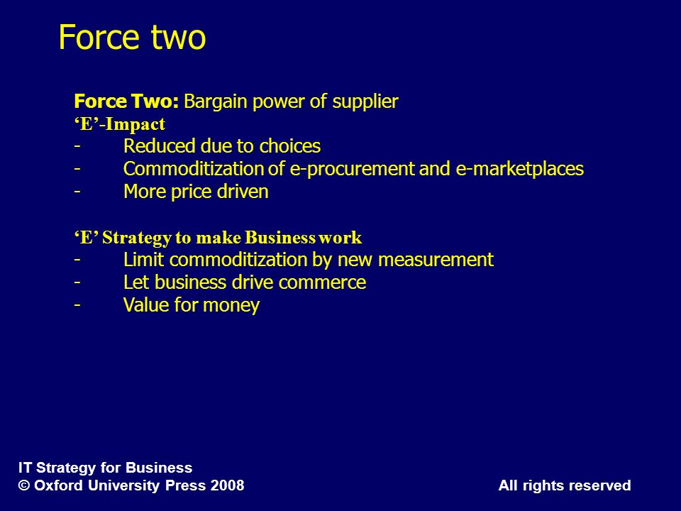 Force two Force Two: Bargain power of supplier 'E'-Impact