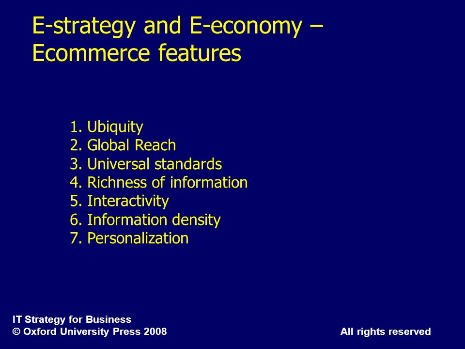 E-strategy and E-economy – Ecommerce features
