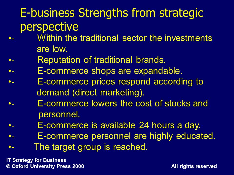 E-business Strengths from strategic perspective
