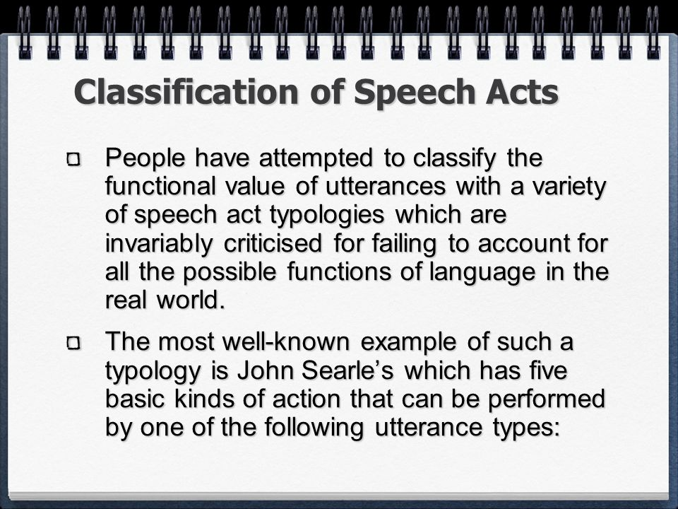 Classification of Speech Acts