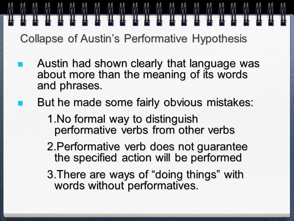 Collapse of Austin's Performative Hypothesis