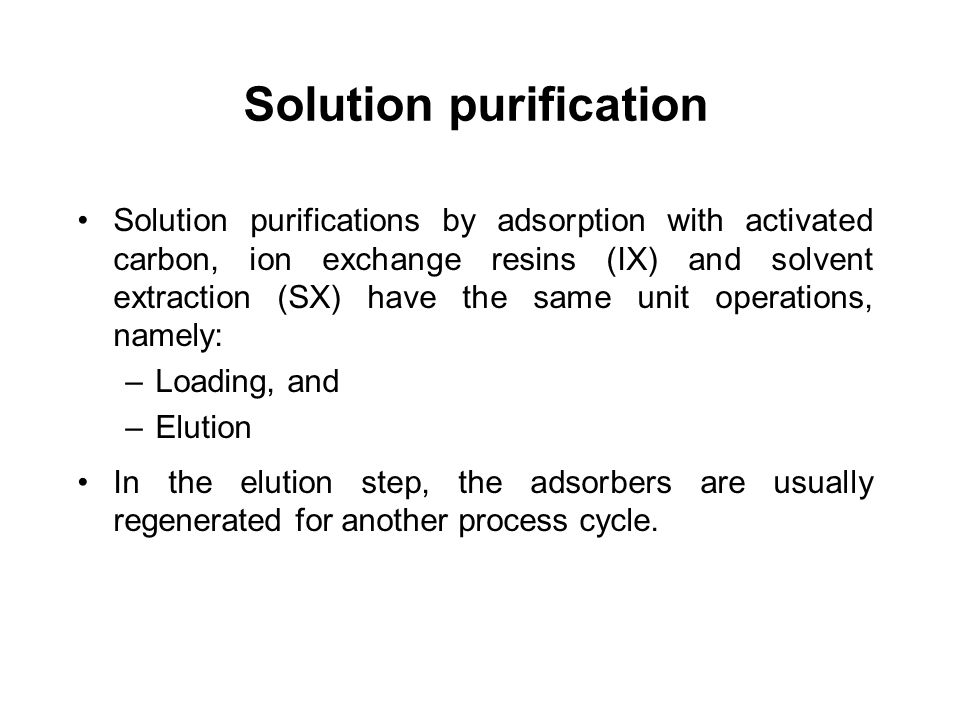 Solution purification