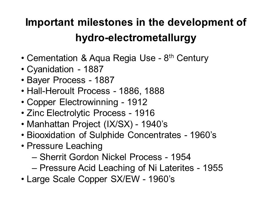 Important milestones in the development of hydro-electrometallurgy