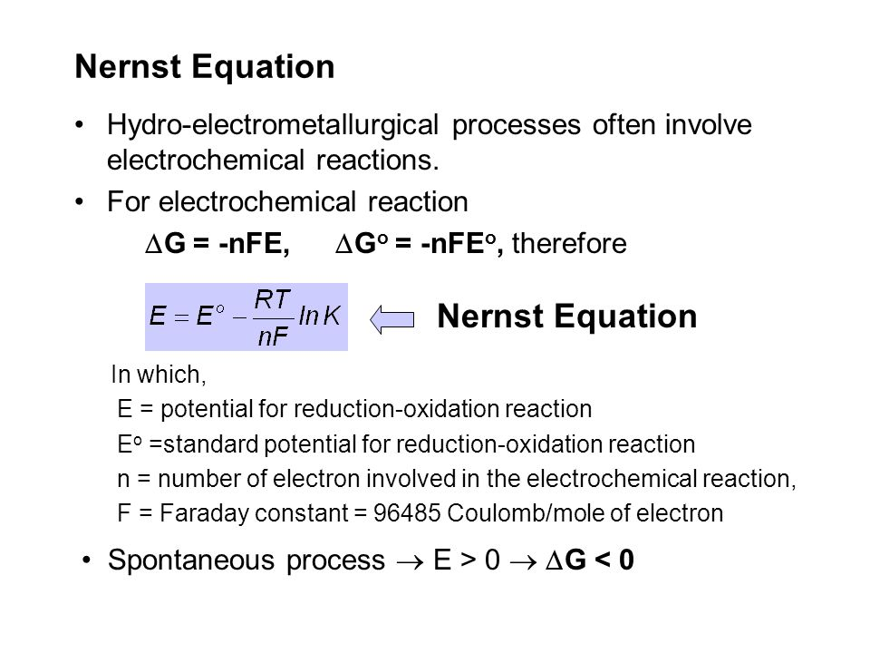 Nernst Equation Nernst Equation