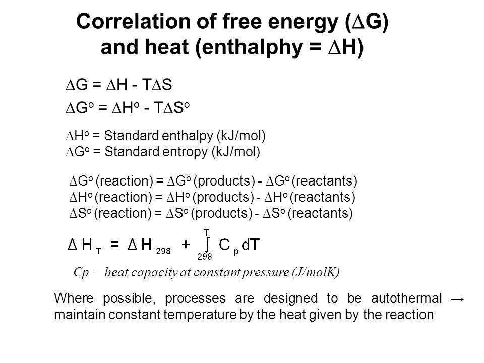 Correlation of free energy (G) and heat (enthalphy = H)
