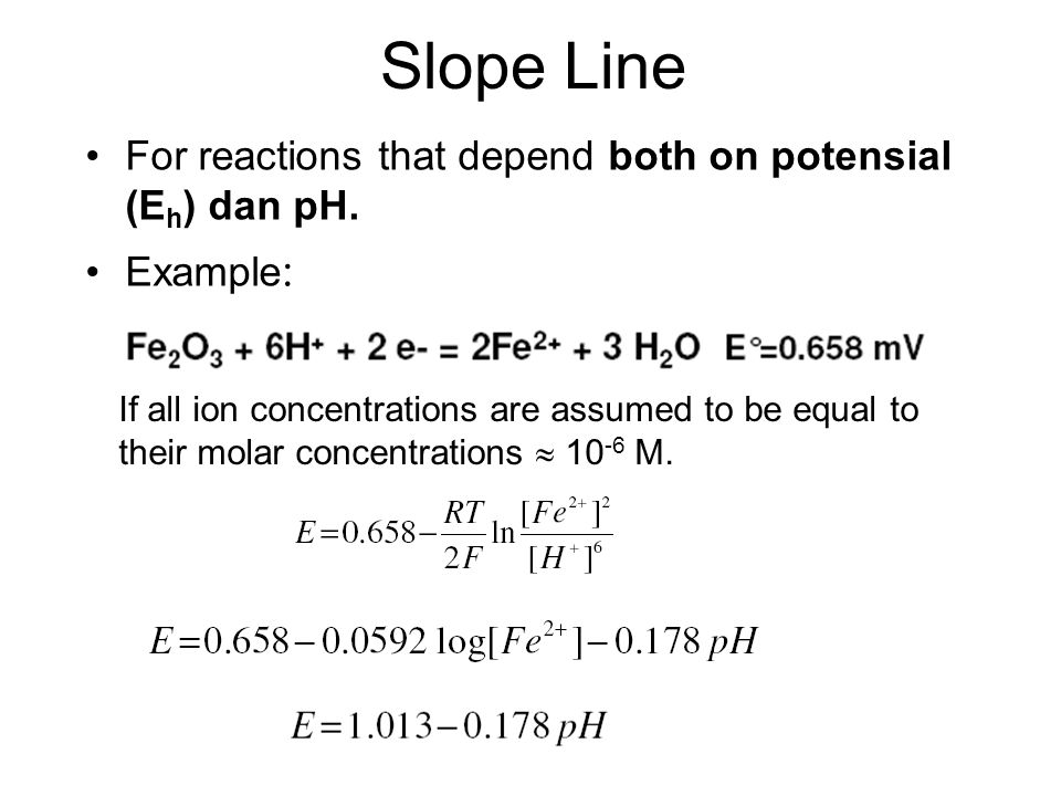 Slope Line For reactions that depend both on potensial (Eh) dan pH.