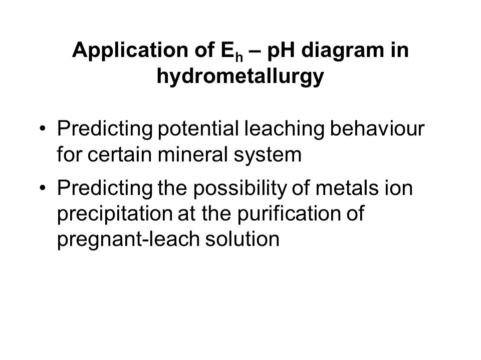 Application of Eh – pH diagram in hydrometallurgy