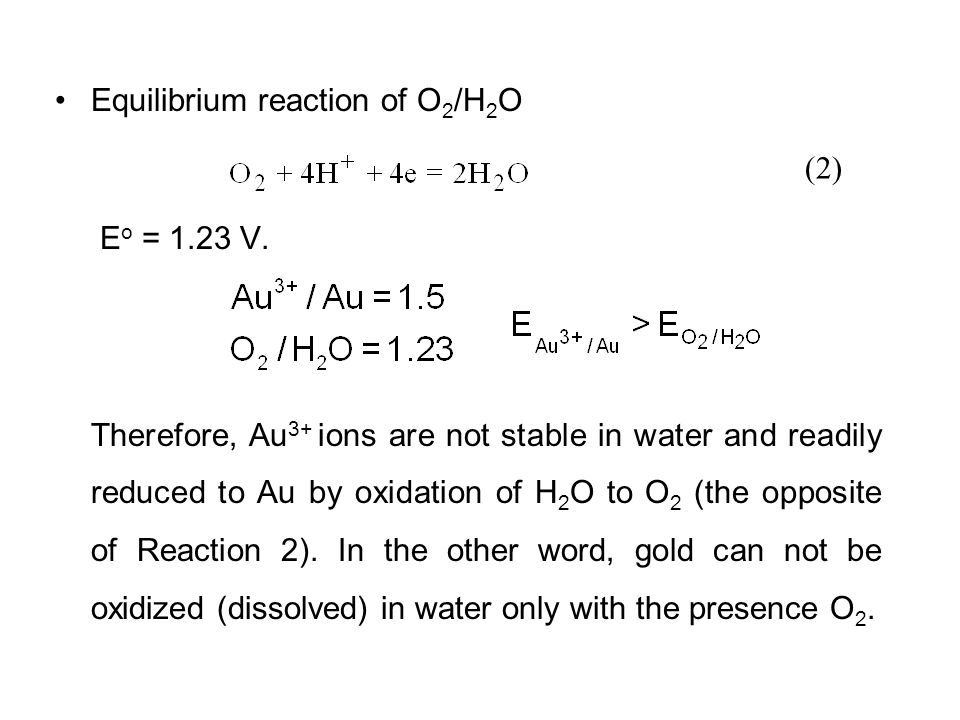 Equilibrium reaction of O2/H2O