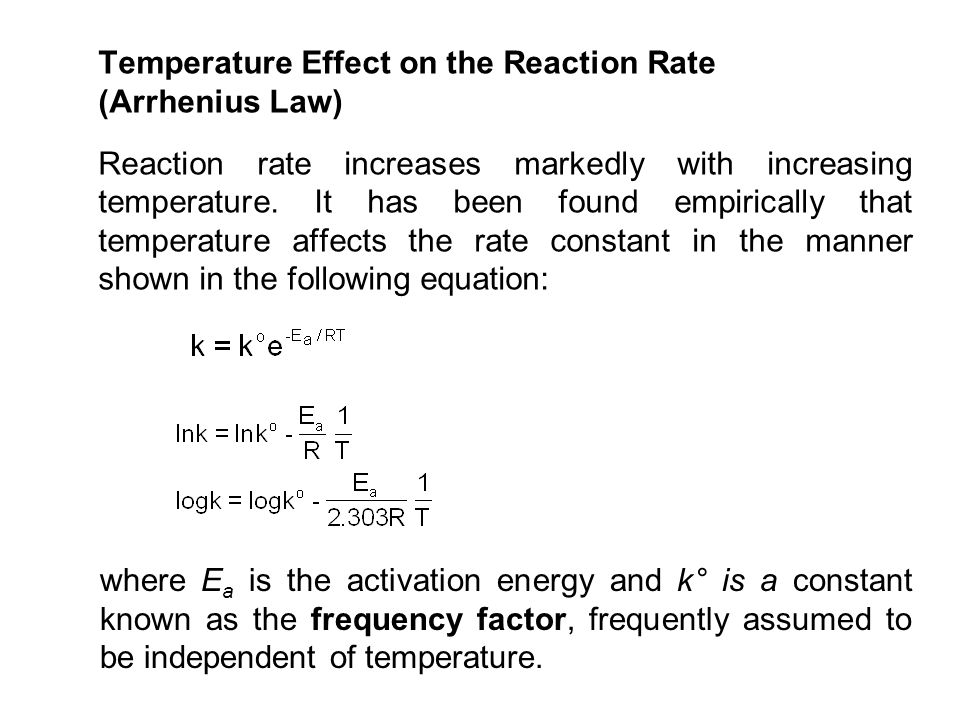 Temperature Effect on the Reaction Rate