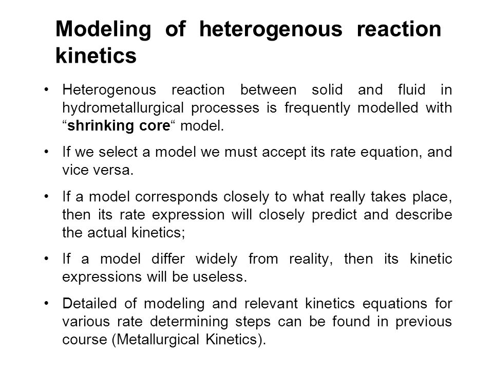 Modeling of heterogenous reaction kinetics
