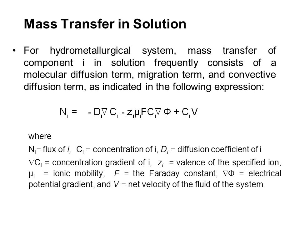 Mass Transfer in Solution