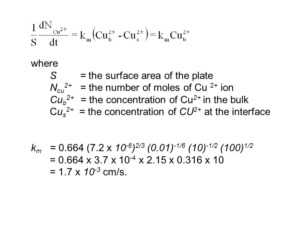 where S = the surface area of the plate. Ncu2+ = the number of moles of Cu 2+ ion. Cub2+ = the concentration of Cu2+ in the bulk.