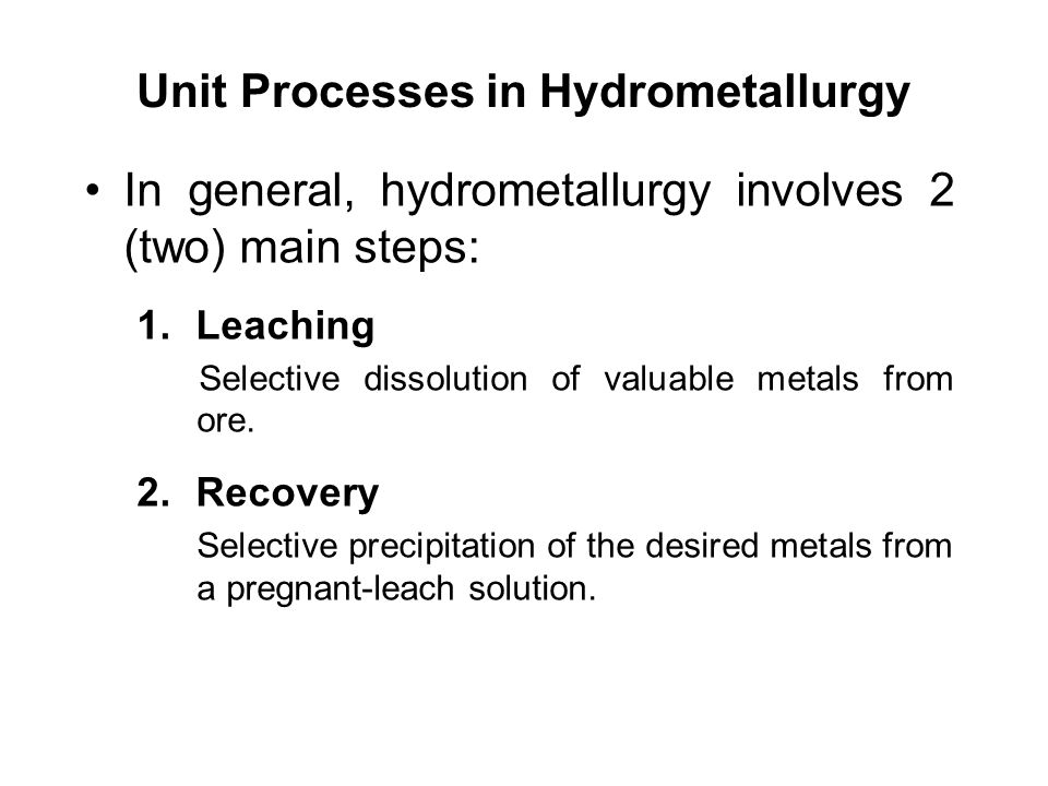 Unit Processes in Hydrometallurgy