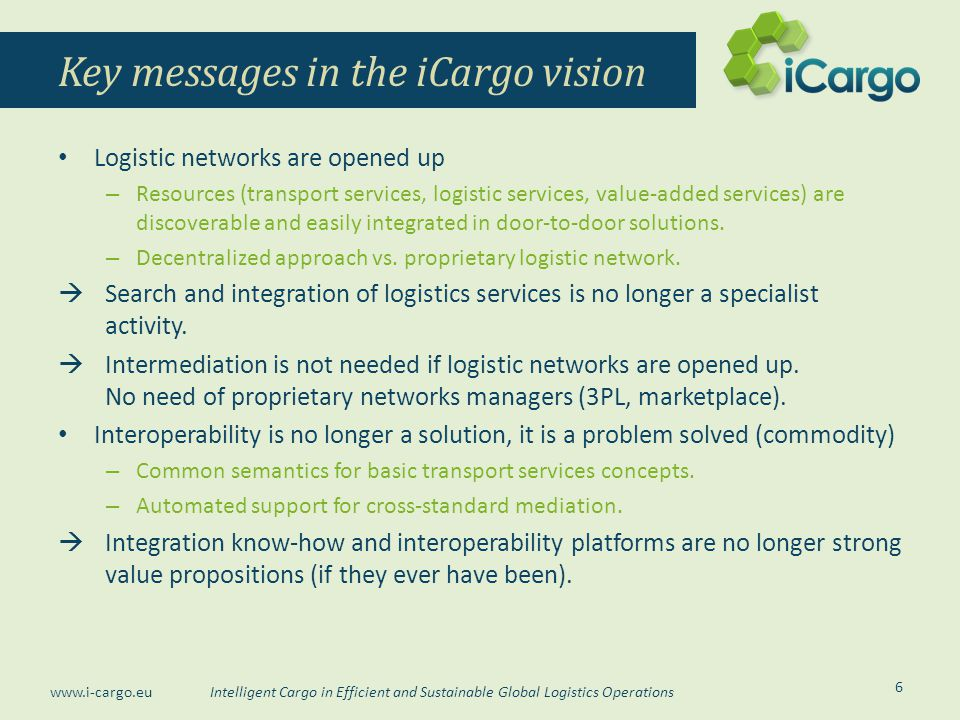 Key messages in the iCargo vision