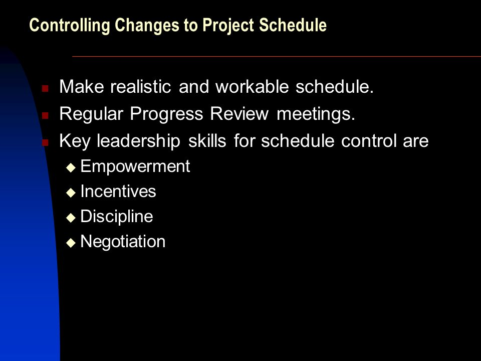 Controlling Changes to Project Schedule