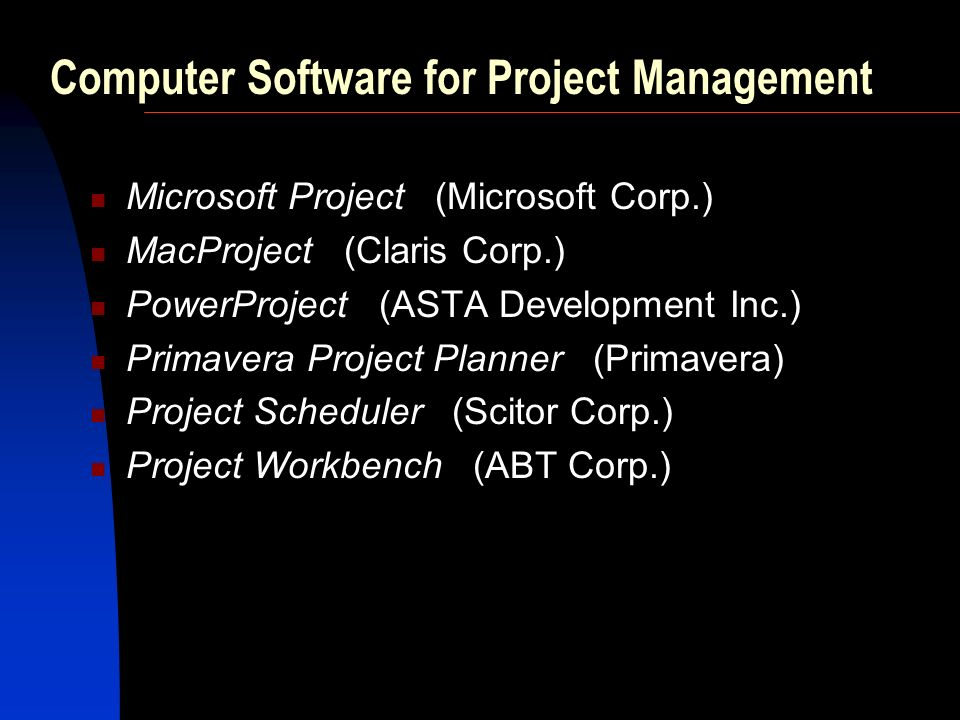 Computer Software for Project Management