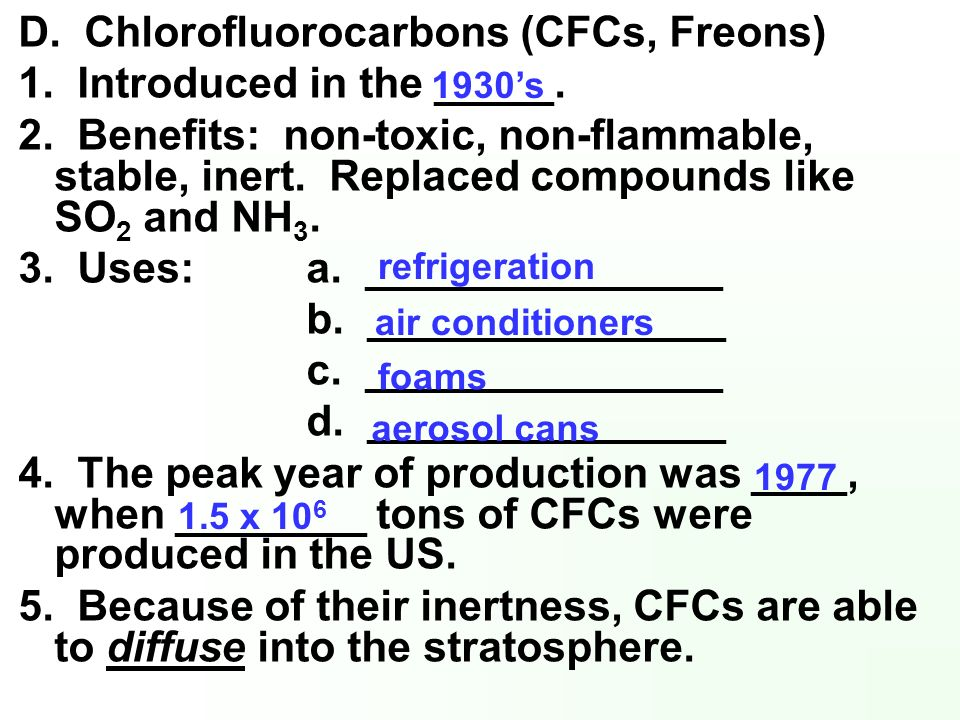 D. Chlorofluorocarbons (CFCs, Freons) 1. Introduced in the _____.