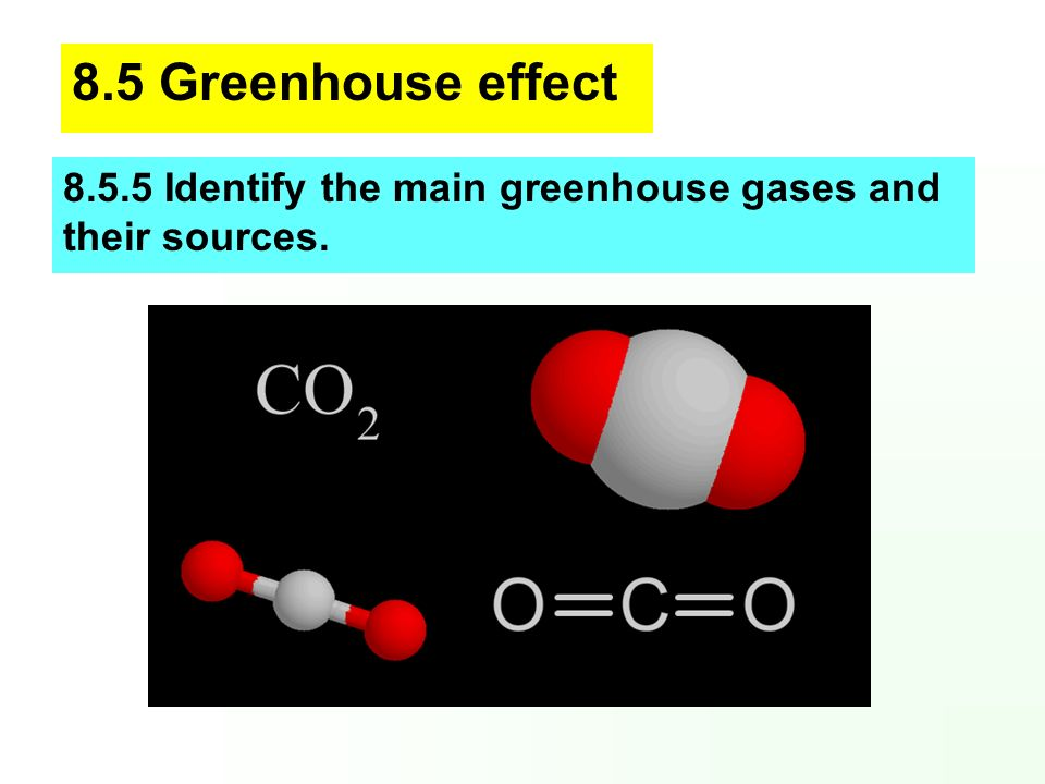 8.5 Greenhouse effect Identify the main greenhouse gases and their sources.