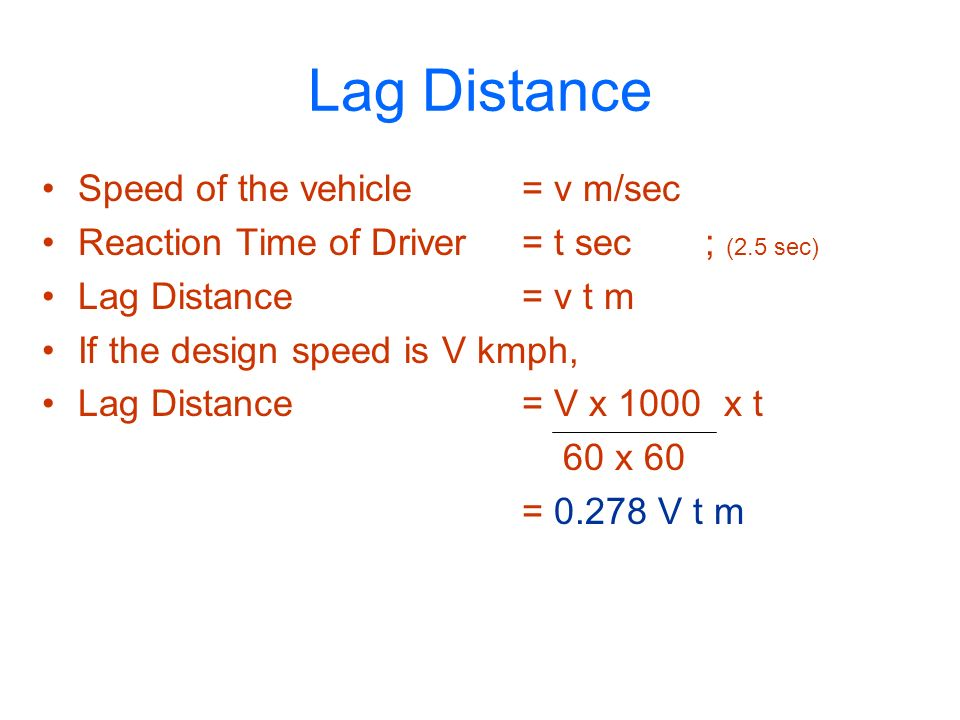 Lag Distance Speed of the vehicle = v m/sec