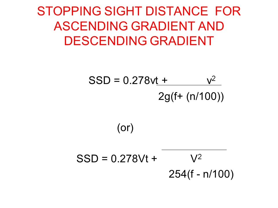 STOPPING SIGHT DISTANCE FOR ASCENDING GRADIENT AND DESCENDING GRADIENT
