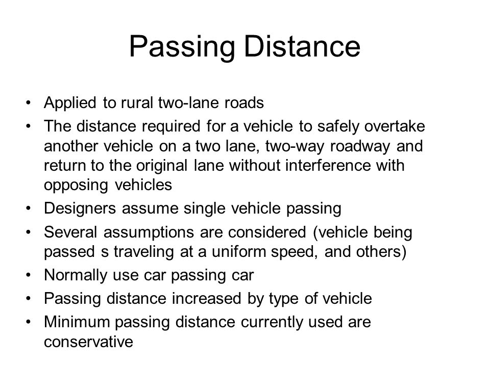 Passing Distance Applied to rural two-lane roads