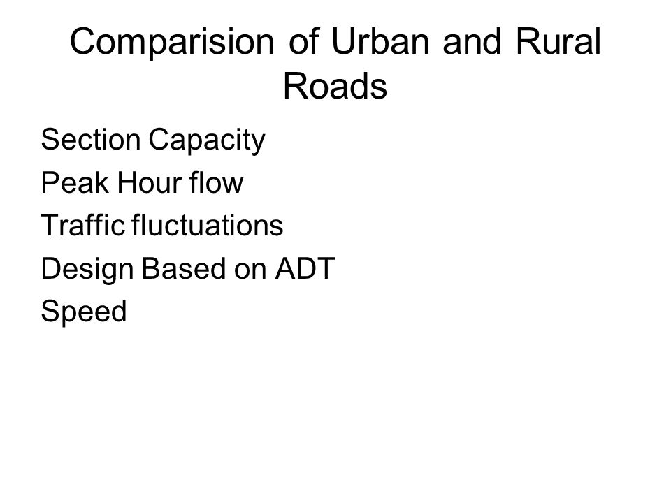 Comparision of Urban and Rural Roads