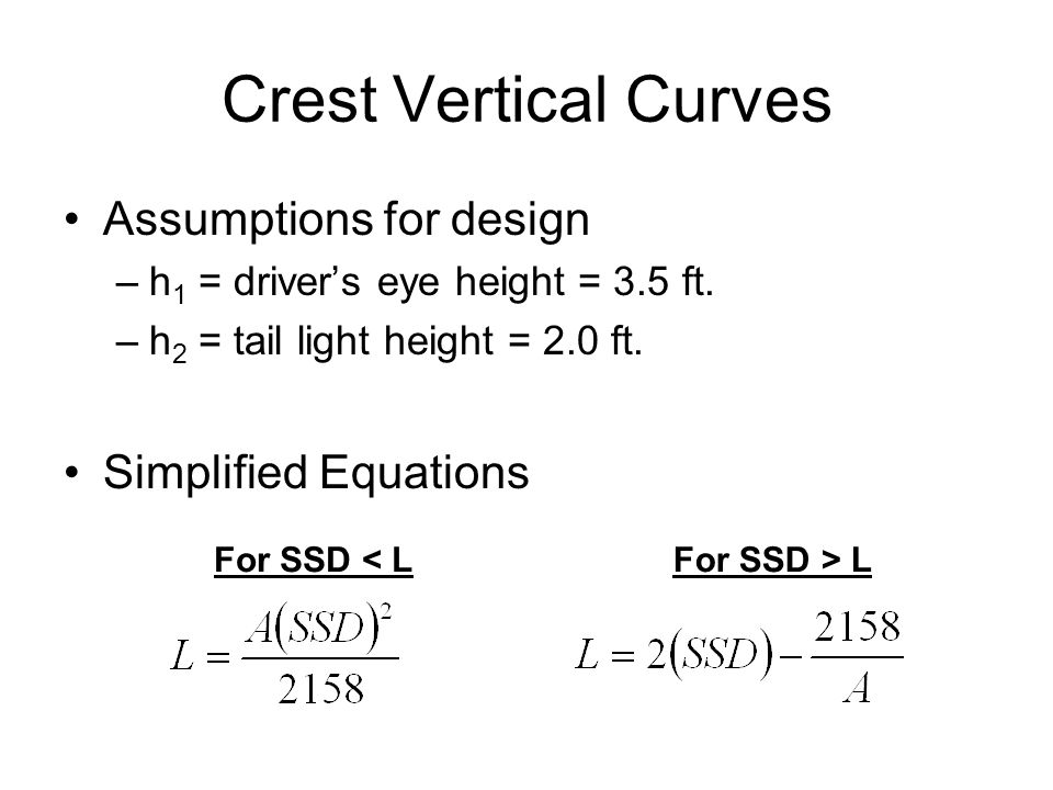 Crest Vertical Curves Assumptions for design Simplified Equations