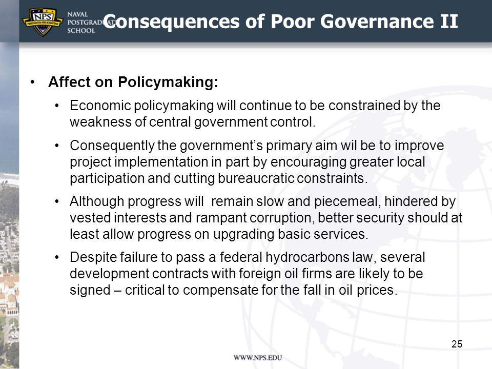 Consequences of Poor Governance II