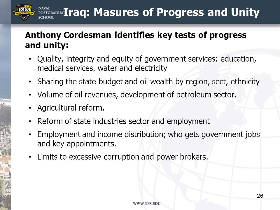 Iraq: Masures of Progress and Unity
