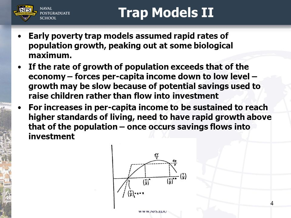 Trap Models II Early poverty trap models assumed rapid rates of population growth, peaking out at some biological maximum.