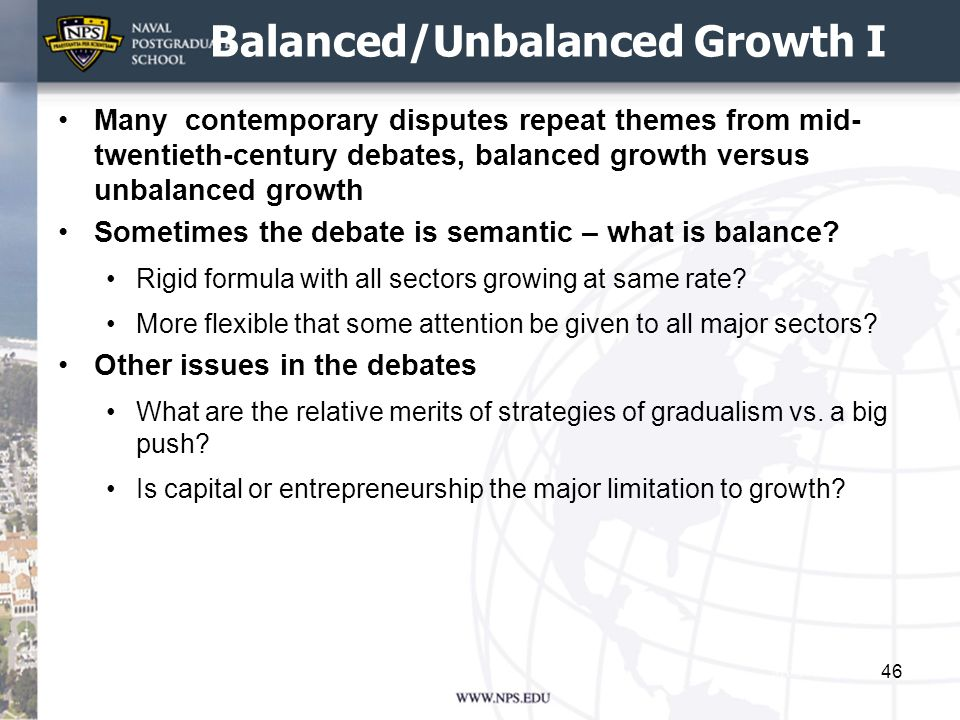 Balanced/Unbalanced Growth I