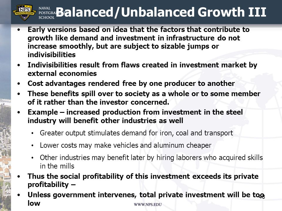 Balanced/Unbalanced Growth III