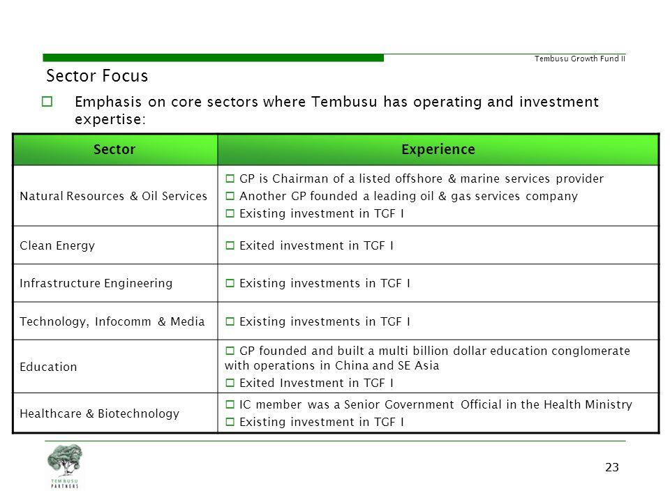 Sector Focus Emphasis on core sectors where Tembusu has operating and investment expertise: Sector.