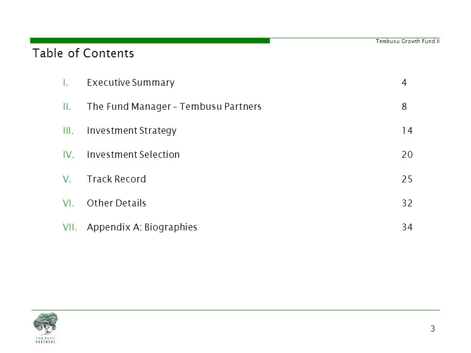 Table of Contents Executive Summary