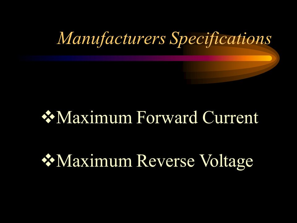 Manufacturers Specifications