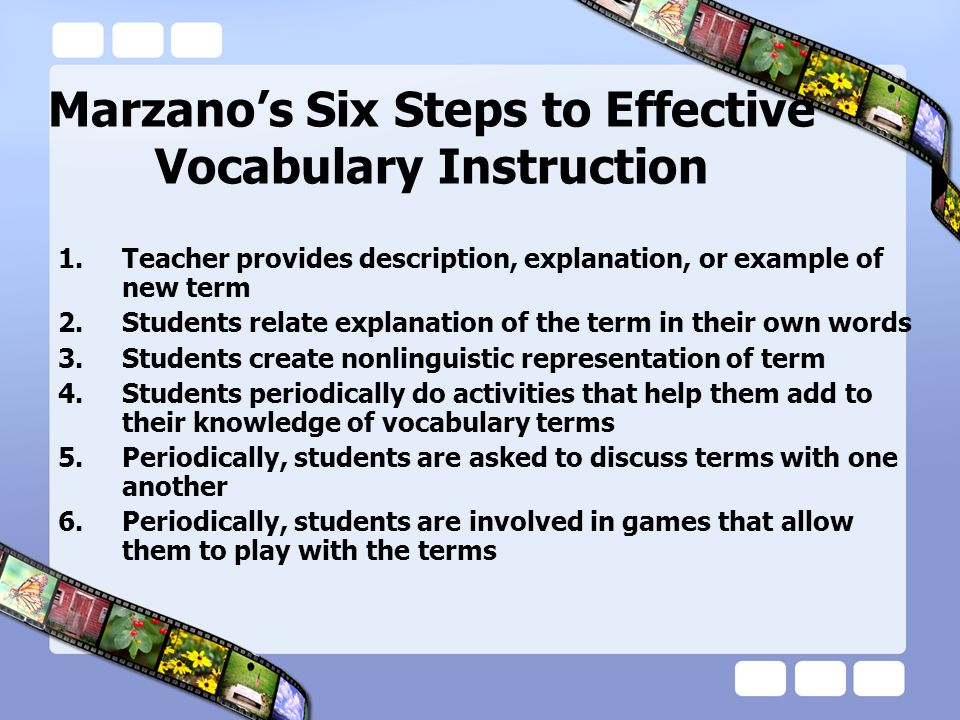 Marzano's Six Steps to Effective Vocabulary Instruction