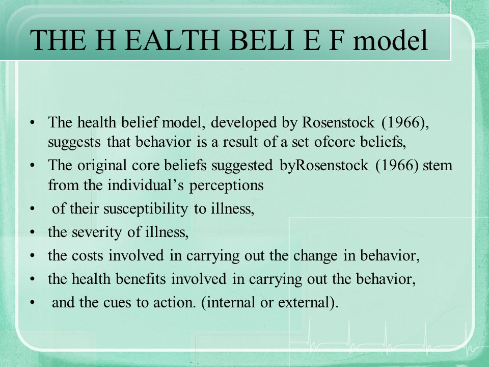 THE H EALTH BELI E F model