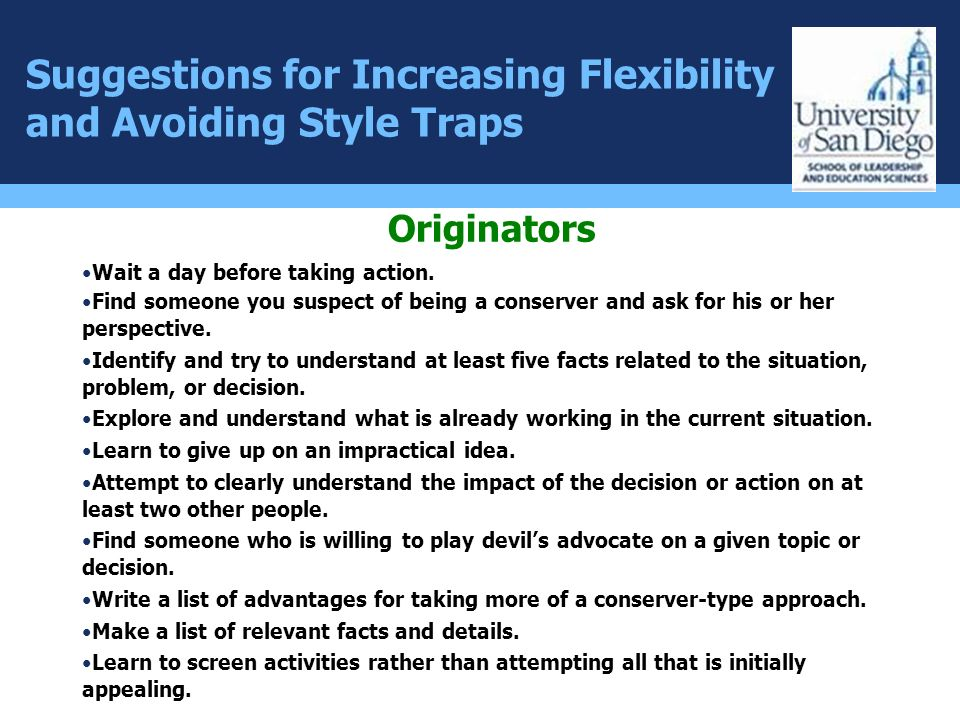 Suggestions for Increasing Flexibility and Avoiding Style Traps