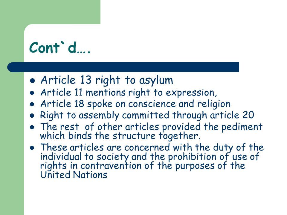 Cont`d…. Article 13 right to asylum