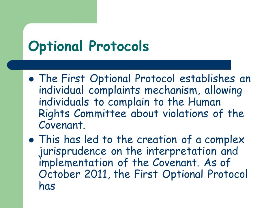 Optional Protocols