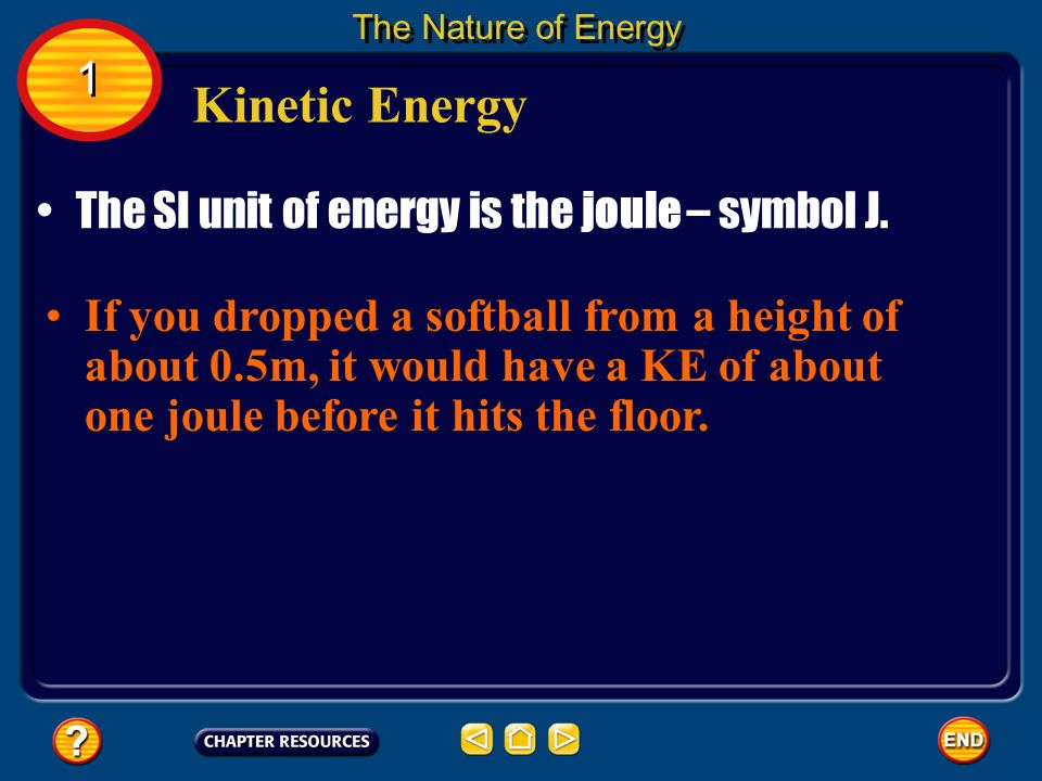 Kinetic Energy 1 The SI unit of energy is the joule – symbol J.