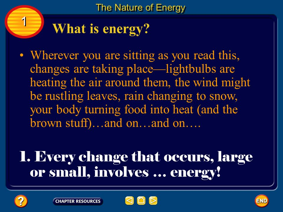 Every change that occurs, large or small, involves … energy!