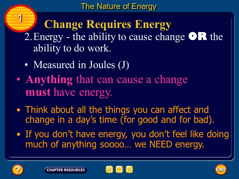 Change Requires Energy